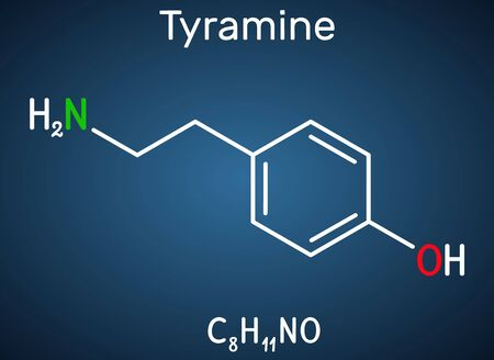 Tyramine, tyramin molecule. It is monoamine compound derived from tyrosine. Structural chemical formula on the dark blue background. Vector illustration 矢量图像