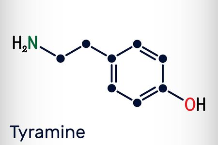 Tyramine, tyramin molecule. It is monoamine compound derived from tyrosine. Skeletal chemical formula. Vector illustration 向量圖像