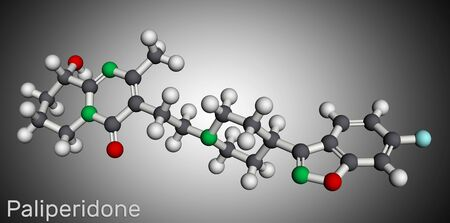 Paliperidone, 9-Hydroxyrisperidone molecule. It is atypical antipsychotic agent that is used in the treatment of schizophrenia. Molecular model. 3D rendering Banco de Imagens