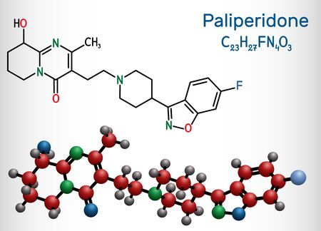 Paliperidone, 9-Hydroxyrisperidone molecule. It is atypical antipsychotic agent that is used in the treatment of schizophrenia. Structural chemical formula and molecule model. Vector illustration