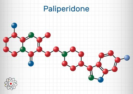 Paliperidone, 9-Hydroxyrisperidone molecule. It is atypical antipsychotic agent that is used in the treatment of schizophrenia. Sheet of paper in a cage. Vector illustration