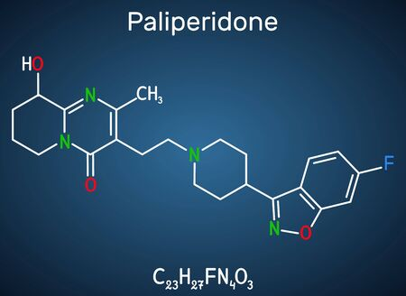 Paliperidone, 9-Hydroxyrisperidone molecule. It is atypical antipsychotic agent that is used in the treatment of schizophrenia. Structural chemical formula on the dark blue background. Vector illustration