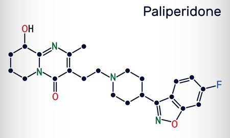 Paliperidone, 9-Hydroxyrisperidone molecule. It is atypical antipsychotic agent that is used in the treatment of schizophrenia. Skeletal chemical formula. Vector illustration
