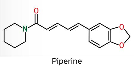 Piperine, C17H19NO3 molecule. It is alkaloid isolated from the plant Piper nigrum. It has role as plant metabolite, food component, human blood serum metabolite. Skeletal chemical formula. Illustration