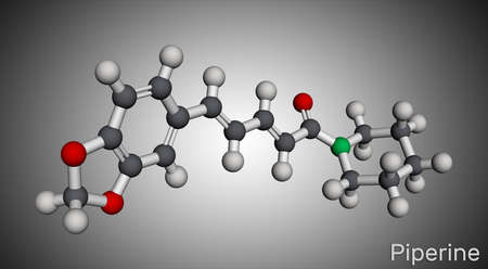 Piperine, C17H19NO3 molecule. It is alkaloid isolated from the plant Piper nigrum. It has role as plant metabolite, food component, human blood serum metabolite. Molecular model. 3D rendering