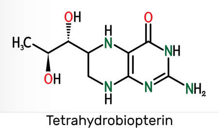 Tetrahydrobiopterin, BH4, THB, sapropterin molecule. It has role as coenzyme, diagnostic agent, human metabolite, cofactor. Skeletal chemical formula. Illustration