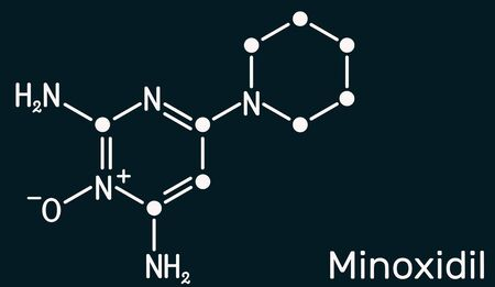 Minoxidil molecule. It is an antihypertensive vasodilator medication, is used to treat hair loss. Structural chemical formula on the dark blue background. Illustration Banco de Imagens
