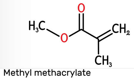 Methyl methacrylate, MMA molecule. It is methyl ester of methacrylic acid, is monomer for the production of poly (methyl methacrylate). Skeletal chemical formula. illustration