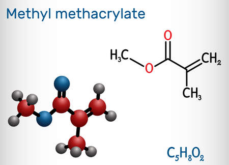 Methyl methacrylate, MMA molecule. It is methyl ester of methacrylic acid, is monomer for the production of poly (methyl methacrylate). Structural chemical formula, molecule model. Vector illustration Ilustração