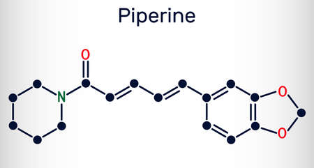 Piperine, C17H19NO3 molecule. It is alkaloid isolated from the plant Piper nigrum. It has role as plant metabolite, food component, human blood serum metabolite. Skeletal chemical formula. Vector illustration
