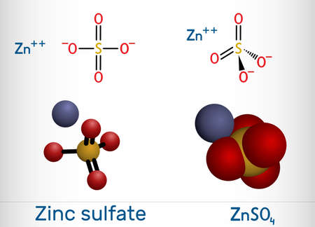 Zinc sulfate, ZnSO4, white vitriol molecule. It is used as dietary supplement, as a fertilizer ingredient, in the production of rayon. Structural chemical formula and molecule model.