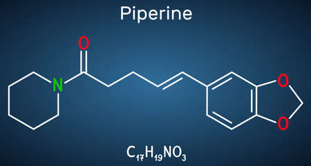 Piperine, C17H19NO3 molecule. It is alkaloid isolated from the plant Piper nigrum. It has role as plant metabolite, food component, human blood serum metabolite. Structural chemical formula on the dark blue background. Vector illustration