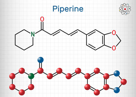 Piperine, C17H19NO3 molecule. It is alkaloid isolated from the plant Piper nigrum. It has role as plant metabolite, food component, human blood serum metabolite. Sheet of paper in a cage. Vector illustration