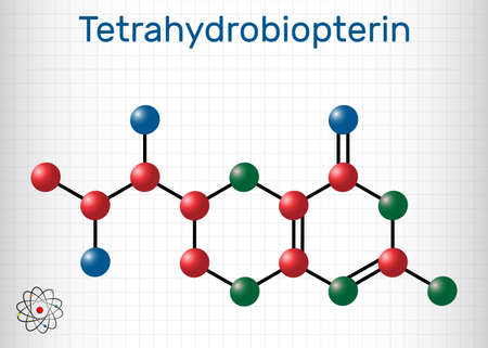 Tetrahydrobiopterin, BH4, THB, sapropterin molecule. It has role as coenzyme, diagnostic agent, human metabolite, cofactor. Sheet of paper in a cage. Vector illustration Ilustração