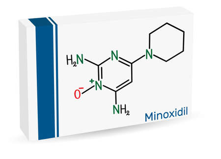 Minoxidil molecule. It is an antihypertensive vasodilator medication, is used to treat hair loss. Paper packaging for drugs. Vector illustration