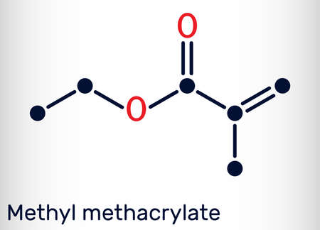 Methyl methacrylate, MMA molecule. It is methyl ester of methacrylic acid, is monomer for the production of poly (methyl methacrylate). Skeletal chemical formula. Vector illustration
