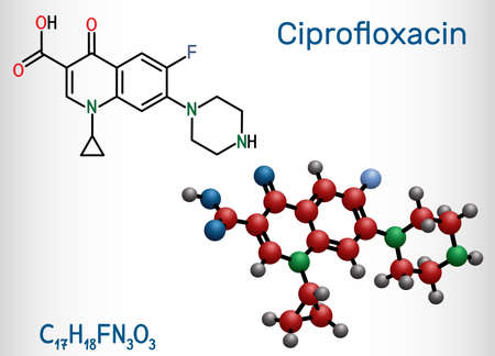 Ciprofloxacin, quinolone molecule. It is a synthetic broad spectrum fluoroquinolone antibiotic. Structural chemical formula and molecule model. Vector illustration