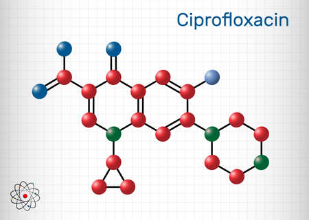 Ciprofloxacin, quinolone molecule. It is a synthetic broad spectrum fluoroquinolone antibiotic. Sheet of paper in a cage. Vector illustration