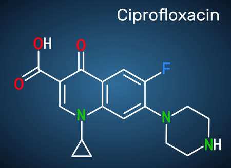 Ciprofloxacin, quinolone molecule. It is a synthetic broad spectrum fluoroquinolone antibiotic. Structural chemical formula on the dark blue background. Vector illustration Ilustração