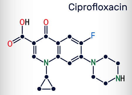 Ciprofloxacin, quinolone molecule. It is a synthetic broad spectrum fluoroquinolone antibiotic. Skeletal chemical formula. Vector illustration Ilustração