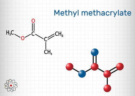 Methyl methacrylate, MMA molecule. It is methyl ester of methacrylic acid, is monomer  for the production of poly(methyl methacrylate). Sheet of paper in a cage. Vector illustration