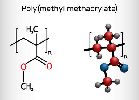 Poly(methyl methacrylate), acrylic glass, plexiglass, PMMA molecule. It is synthetic polymer of methyl methacrylate, is used for acrylic paint, latex, acrylic glass. Structural chemical formula and molecule model. Vector illustration