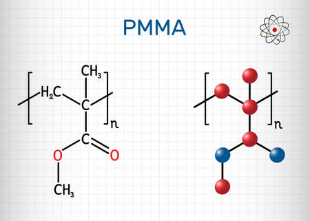 Poly(methyl methacrylate), acrylic glass, plexiglass, PMMA molecule. It is synthetic polymer of methyl methacrylate, is used for acrylic paint, latex, acrylic glass. Sheet of paper in a cage. Vector illustration