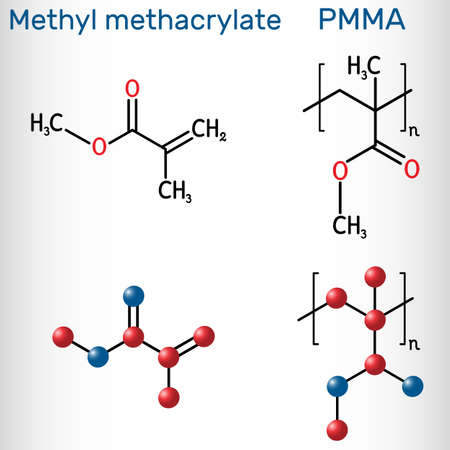 Methyl methacrylate, MMA and poly(methyl methacrylate) , PMMA molecule. Methyl methacrylate is monomer  for the production of PMMA. Structural chemical formula and molecule model. Vector illustration Ilustração
