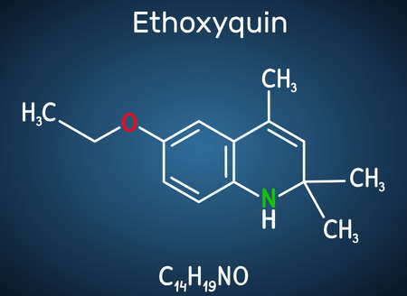 Ethoxyquin, EMQ,  antioxidant  E324 molecule. It is a quinoline used as a food preservative. Structural chemical formula on the dark blue background. Vector illustration Ilustração