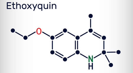 Ethoxyquin, EMQ,  antioxidant  E324 molecule. It is a quinoline used as a food preservative. Skeletal chemical formula. Vector illustration