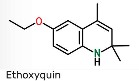 Ethoxyquin, EMQ,  antioxidant  E324 molecule. It is a quinoline used as a food preservative. Skeletal chemical formula. Illustration