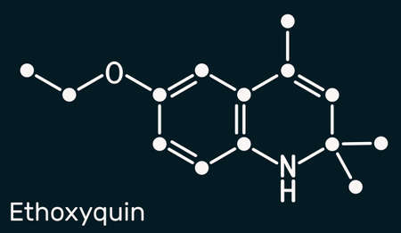 Ethoxyquin, EMQ,  antioxidant  E324 molecule. It is a quinoline used as a food preservative. Skeletal chemical formula on the dark blue background. Vector illustration