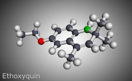 Ethoxyquin, EMQ,  antioxidant  E324 molecule. It is a quinoline used as a food preservative. Molecular model. 3D rendering, illustration