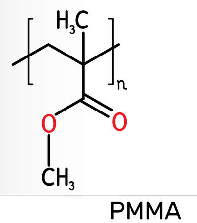 Poly(methyl methacrylate), acrylic glass, plexiglass, PMMA molecule. It is synthetic polymer of methyl methacrylate, is used for acrylic paint, latex, acrylic glass. Skeletal chemical formula. Illustration Banco de Imagens