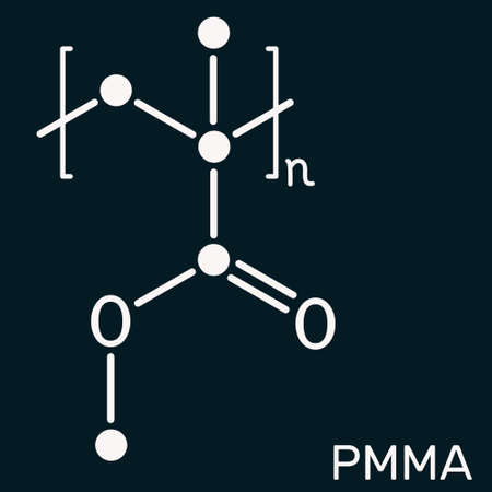 Poly(methyl methacrylate), acrylic glass, plexiglass, PMMA molecule. It is synthetic polymer of methyl methacrylate, is used for acrylic paint, latex, acrylic glass. Dark blue background. Illustration