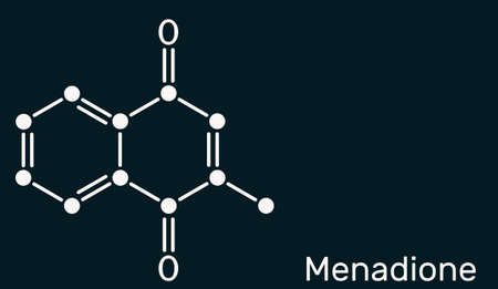 Menadione, menaphthone, provitamin molecule. It is called vitamin K3. Structural chemical formula Skeletal chemical formula on the dark blue background. Vector illustration