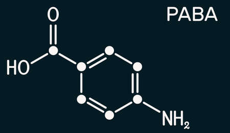 4-Aminobenzoic acid, p-Aminobenzoic acid, PABA molecule. It is essential nutrient for some bacteria and member of vitamin B complex. Dark blue background. Illustration Stockfoto