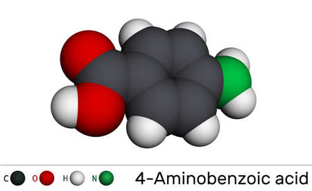 4-Aminobenzoic acid, p-Aminobenzoic acid, PABA molecule. It is essential nutrient for some bacteria and member of vitamin B complex. Molecular model. 3D rendering