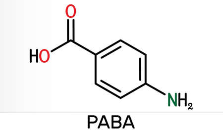 4-Aminobenzoic acid, p-Aminobenzoic acid, PABA molecule. It is essential nutrient for some bacteria and member of vitamin B complex. Skeletal chemical formula. Illustration
