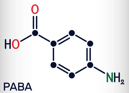4-Aminobenzoic acid, p-Aminobenzoic acid, PABA molecule. It is essential nutrient for some bacteria and member of vitamin B complex. Skeletal chemical formula. Vector illustration