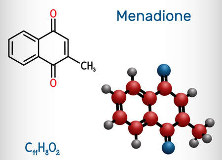 Menadione, menaphthone, provitamin molecule. It is called vitamin K3. Structural chemical formula and molecule model. Vector illustration Stock Illustratie