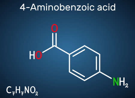 4-Aminobenzoic acid, p-Aminobenzoic acid, PABA molecule. It is essential nutrient for some bacteria and member of vitamin B complex. Dark blue background. Vector illustration