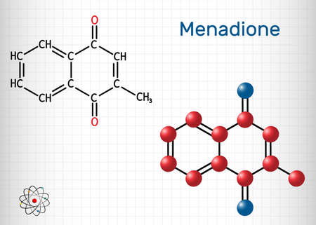 Menadione, menaphthone, provitamin molecule. It is called vitamin K3. Structural chemical formula and molecule model. Sheet of paper in a cage. Vector illustration Stock Illustratie