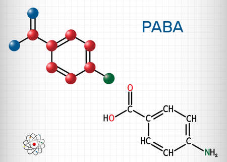 4-Aminobenzoic acid, p-Aminobenzoic acid, PABA molecule. It is essential nutrient for some bacteria and member of vitamin B complex. Sheet of paper in a cage. Vector illustration