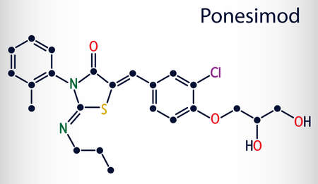 Ponesimod, experimental anti-inflammatory drug molecule. Treatment of multiple sclerosis MS and psoriasis. Skeletal chemical formula. Vector illustration