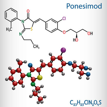 Ponesimod, experimental anti-inflammatory drug molecule. Treatment of multiple sclerosis MS and psoriasis. Structural chemical formula and molecule model. Vector illustration