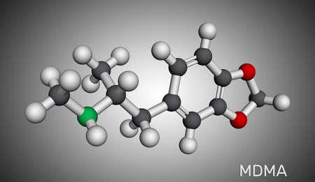 3,4-Methylenedioxymethamphetamine, MDMA, XTC, ecstasy molecule. It is psychoactive, hallucinogen drug. Molecular model. 3D rendering