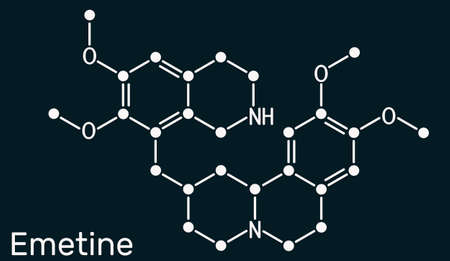 Emetine molecule. It is an antiprotozoal agent and emetic. Skeletal chemical formula on the dark blue background. Illustration