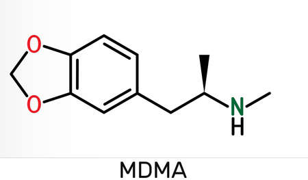 3,4-Methylenedioxymethamphetamine, MDMA, XTC, ecstasy molecule. It is psychoactive, hallucinogen drug. Skeletal chemical formula. Illustration