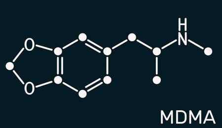 3,4-Methylenedioxymethamphetamine, MDMA, XTC, ecstasy molecule. It is psychoactive, hallucinogen drug. Skeletal chemical formula on the dark blue background. Illustration